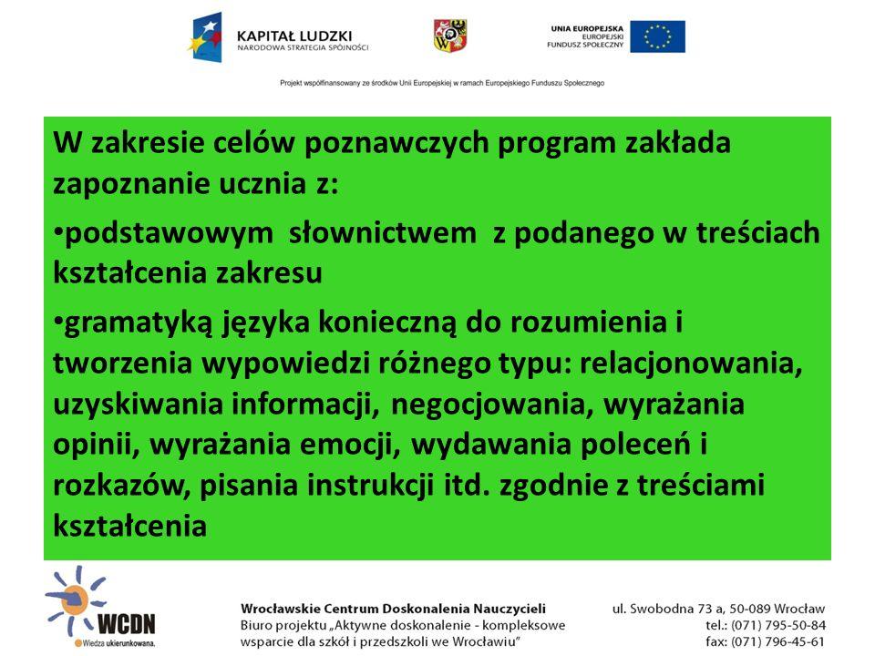 W zakresie celów poznawczych program zakłada zapoznanie ucznia z: podstawowym słownictwem z podanego w treściach kształcenia zakresu gramatyką języka