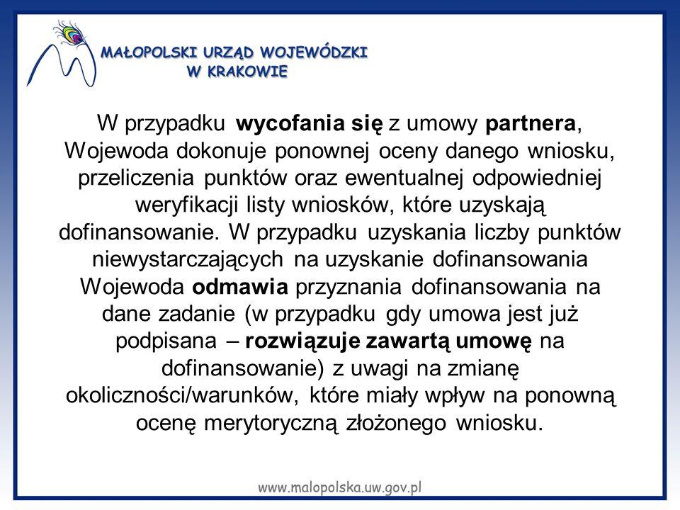 W przypadku wycofania się z umowy partnera, Wojewoda dokonuje ponownej oceny danego wniosku, przeliczenia punktów oraz ewentualnej odpowiedniej weryfi