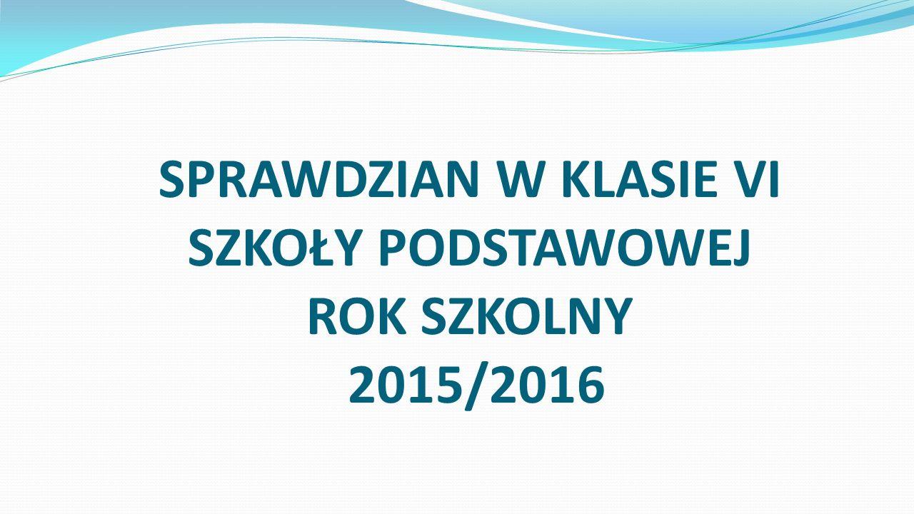 SPRAWDZIAN W KLASIE VI SZKOŁY PODSTAWOWEJ ROK SZKOLNY 2015/2016