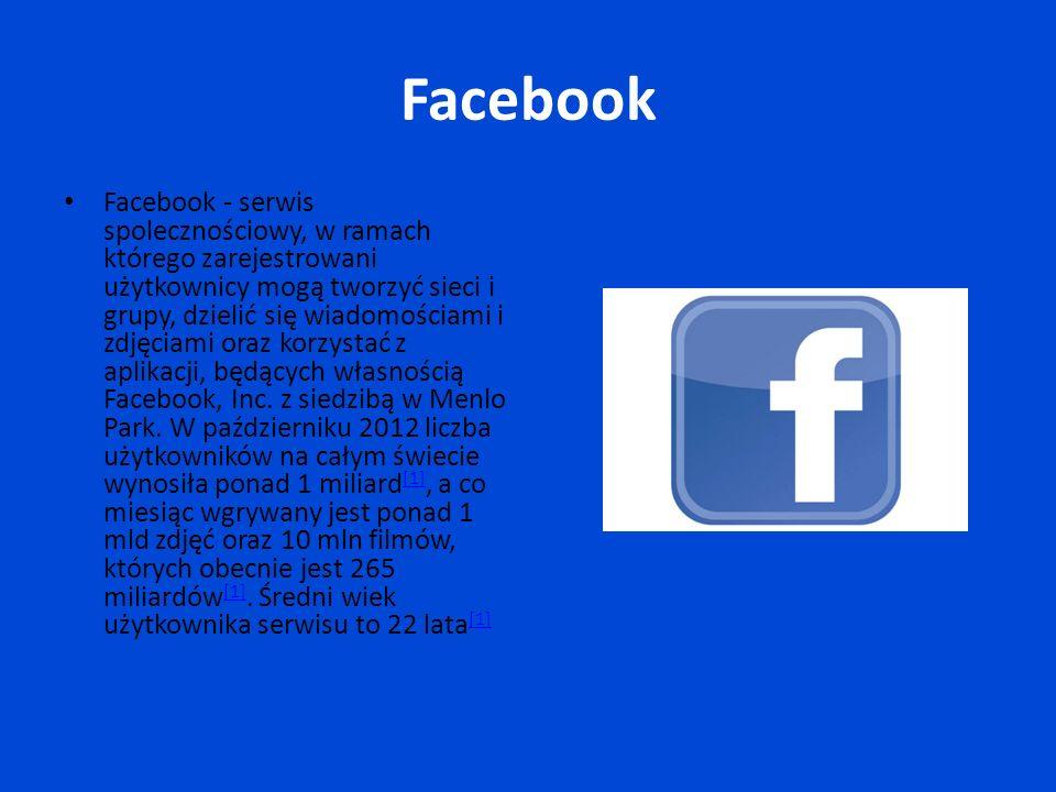 Facebook Facebook - serwis spolecznościowy, w ramach którego zarejestrowani użytkownicy mogą tworzyć sieci i grupy, dzielić się wiadomościami i zdjęciami oraz korzystać z aplikacji, będących własnością Facebook, Inc.