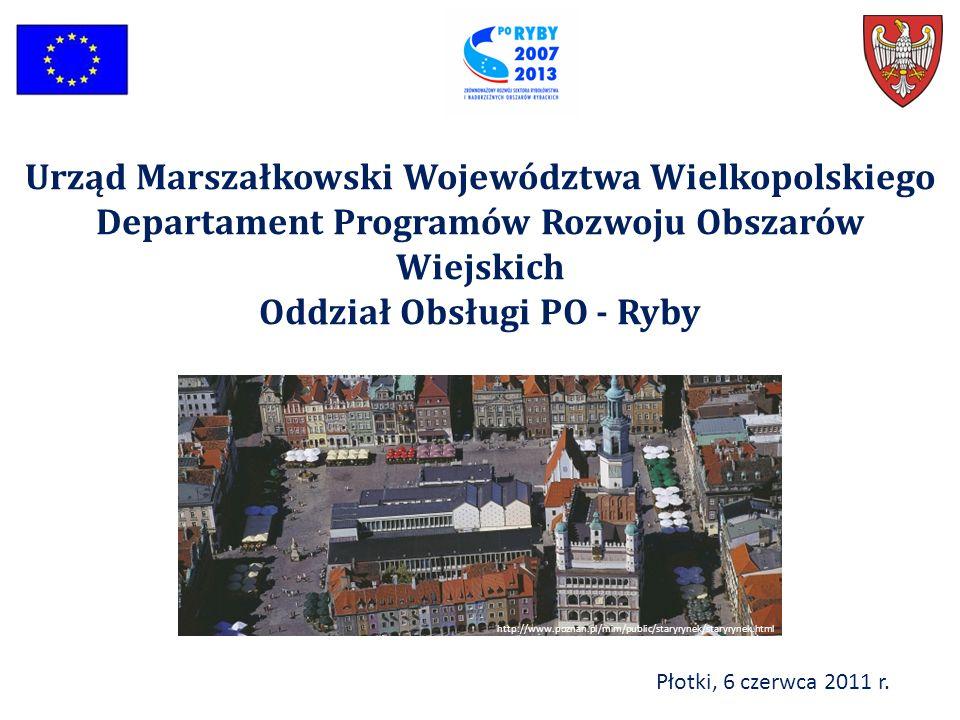 Płotki, 6 czerwca 2011 r. Urząd Marszałkowski Województwa Wielkopolskiego Departament Programów Rozwoju Obszarów Wiejskich Oddział Obsługi PO - Ryby h