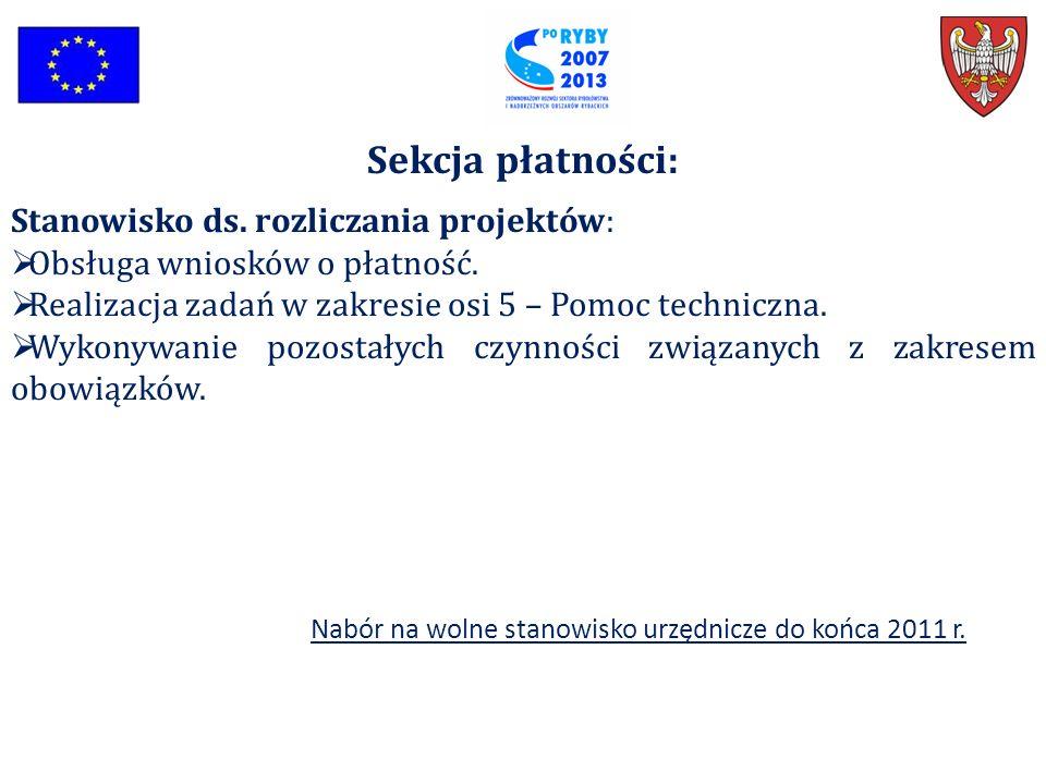 Sekcja płatności: Stanowisko ds. rozliczania projektów:  Obsługa wniosków o płatność.  Realizacja zadań w zakresie osi 5 – Pomoc techniczna.  Wykon