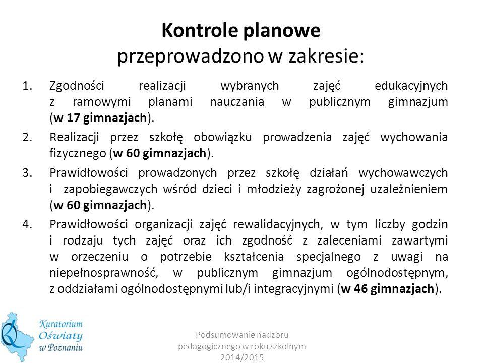 Kontrole planowe przeprowadzono w zakresie: 1.Zgodności realizacji wybranych zajęć edukacyjnych z ramowymi planami nauczania w publicznym gimnazjum (w 17 gimnazjach).
