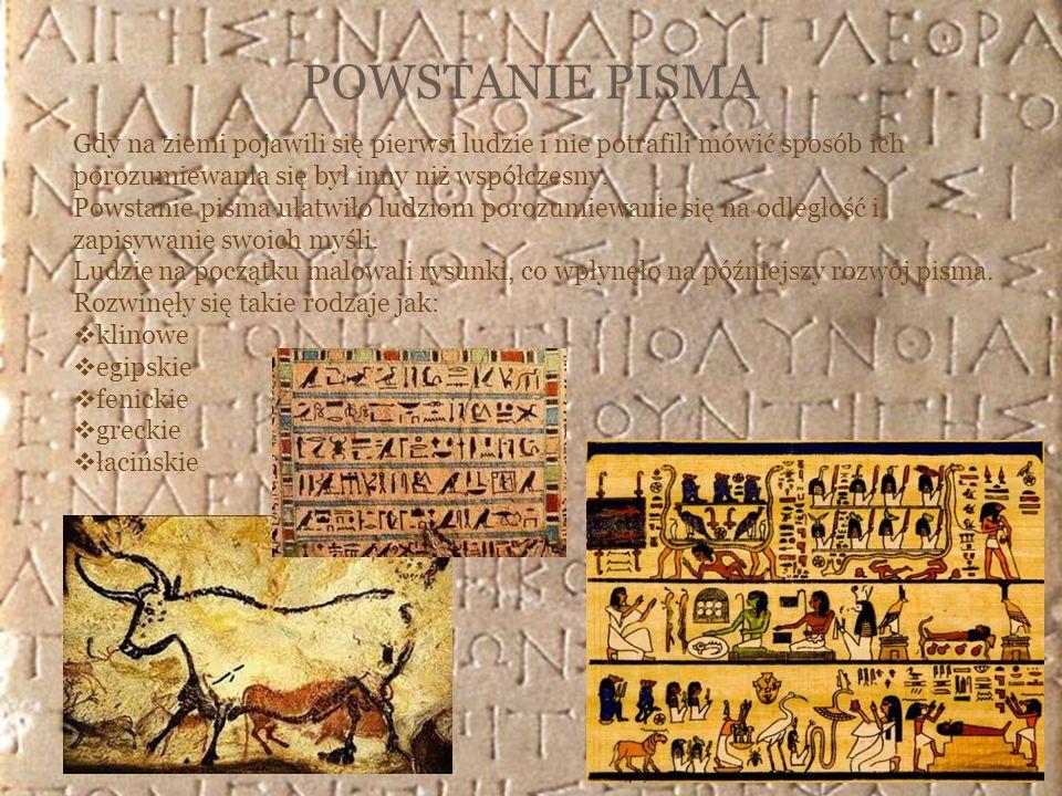POWSTANIE PISMA Gdy na ziemi pojawili się pierwsi ludzie i nie potrafili mówić sposób ich porozumiewania się był inny niż współczesny. Powstanie pisma