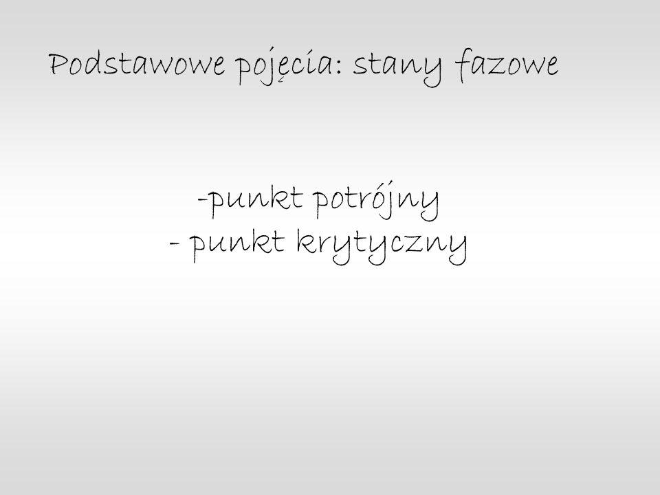 -punkt potrójny - punkt krytyczny Podstawowe pojecia: stany fazowe