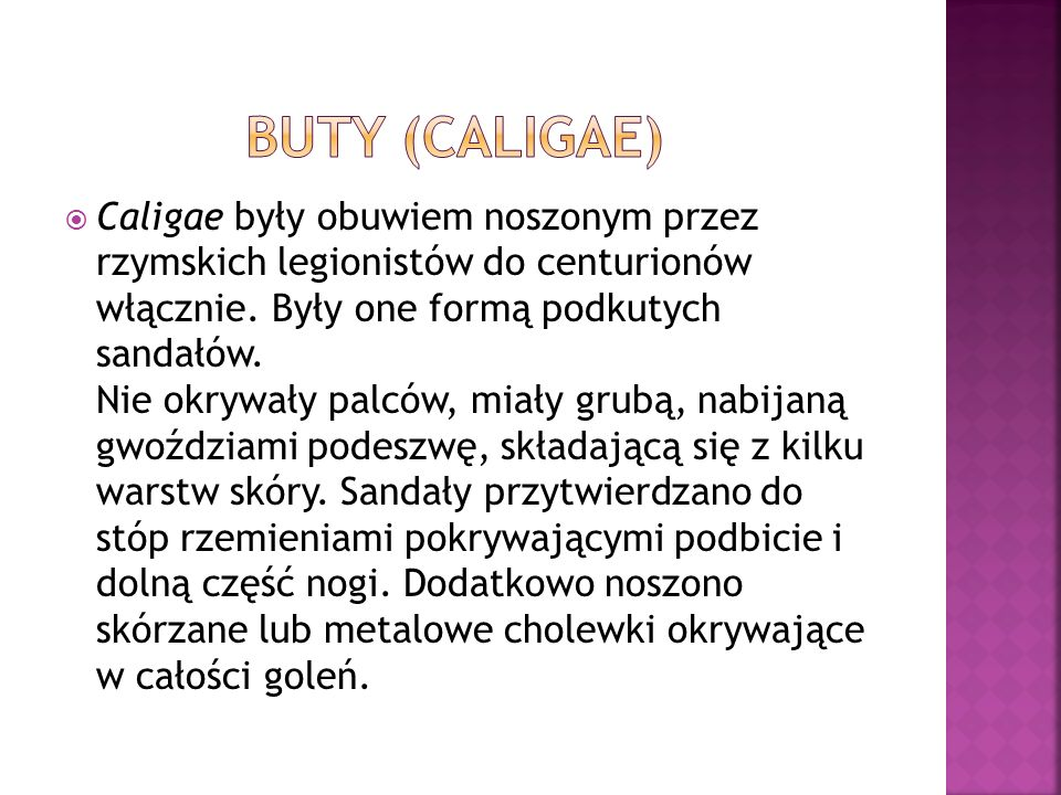  Caligae były obuwiem noszonym przez rzymskich legionistów do centurionów włącznie.
