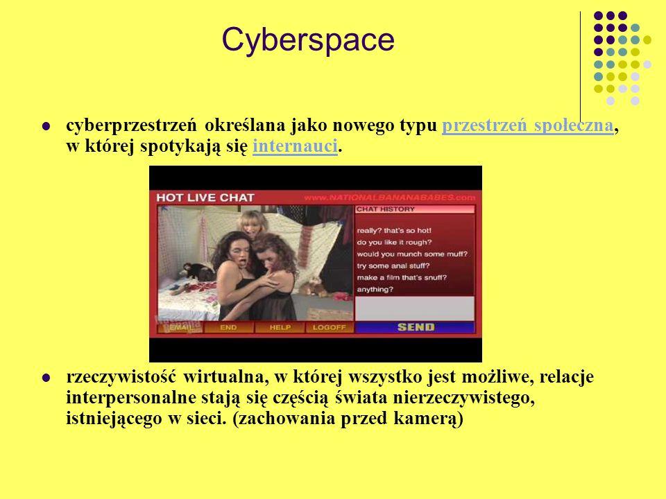 Cyberspace cyberprzestrzeń określana jako nowego typu przestrzeń społeczna, w której spotykają się internauci.przestrzeń społecznainternauci rzeczywis