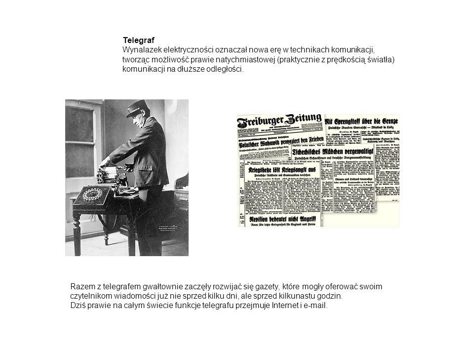 Telegraf Wynalazek elektryczności oznaczał nowa erę w technikach komunikacji, tworząc możliwość prawie natychmiastowej (praktycznie z prędkością światła) komunikacji na dłuższe odległości.