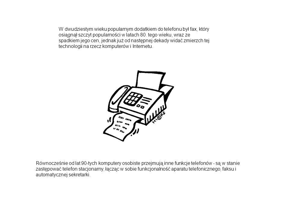 W dwudziestym wieku popularnym dodatkiem do telefonu był fax, który osiągnął szczyt popularności w latach 80.