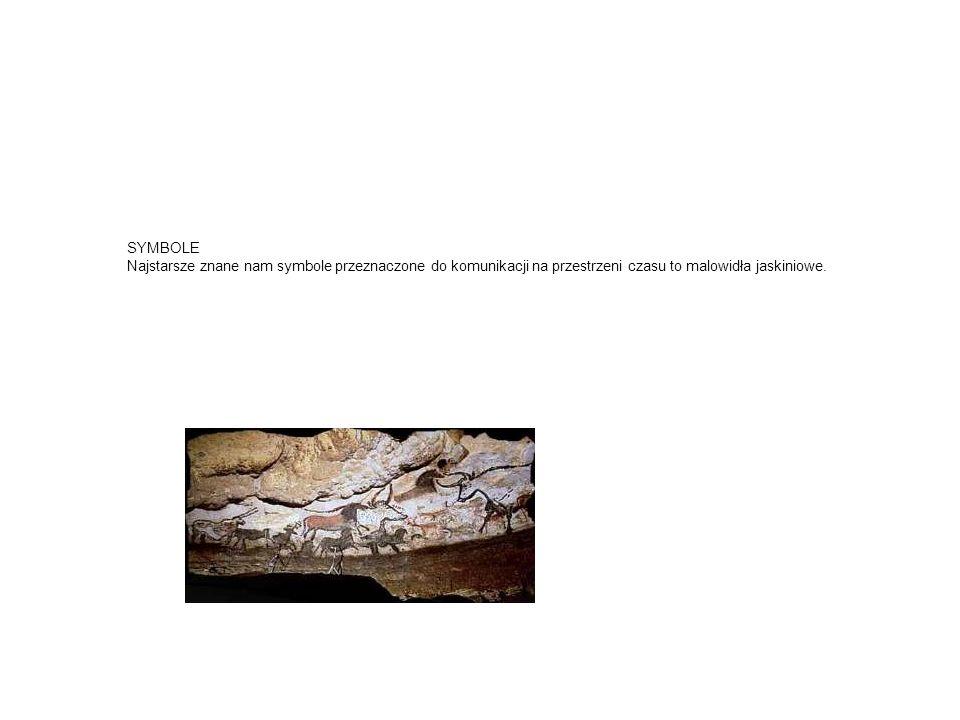 SYMBOLE Najstarsze znane nam symbole przeznaczone do komunikacji na przestrzeni czasu to malowidła jaskiniowe.