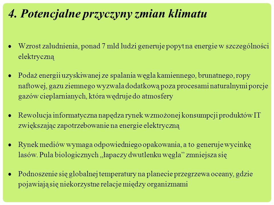 4. Potencjalne przyczyny zmian klimatu  Wzrost zaludnienia, ponad 7 mld ludzi generuje popyt na energie w szczególności elektryczną  Podaż energii u