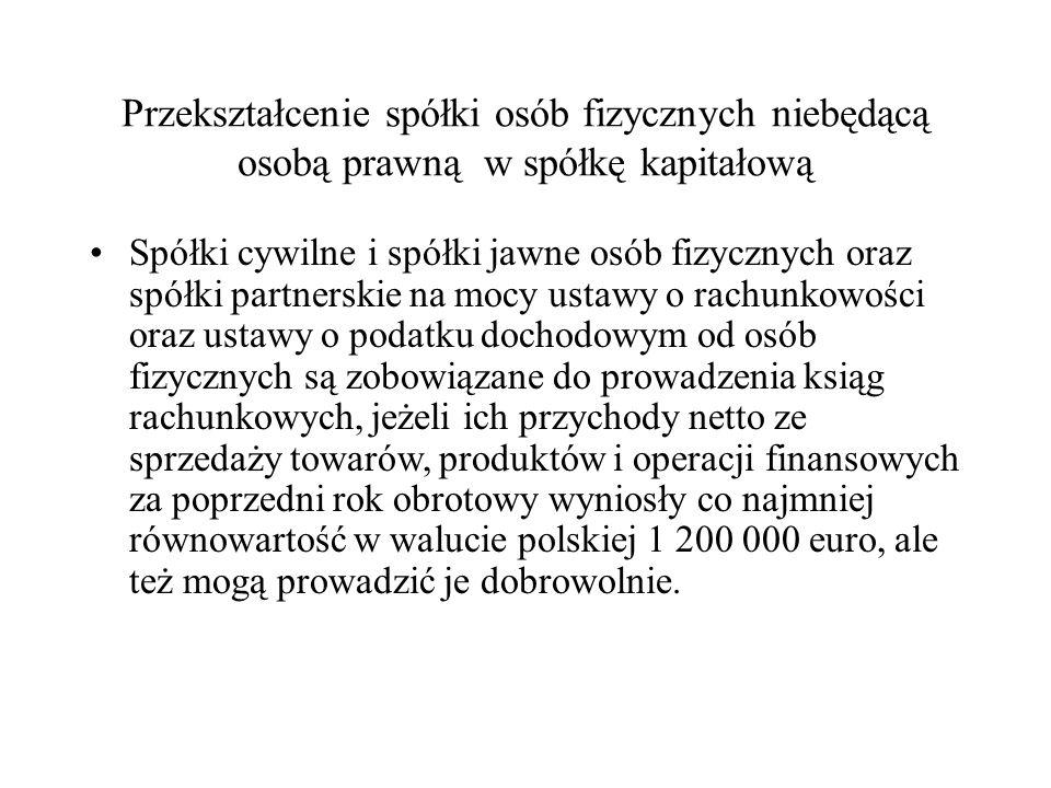 Przekształcenie przedsiębiorstwa osoby fizycznej w spółkę kapitałową Z dniem 1 lipca 2011 r.