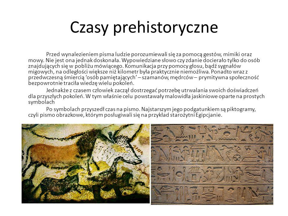 Czasy prehistoryczne Przed wynalezieniem pisma ludzie porozumiewali się za pomocą gestów, mimiki oraz mowy. Nie jest ona jednak doskonała. Wypowiedzia