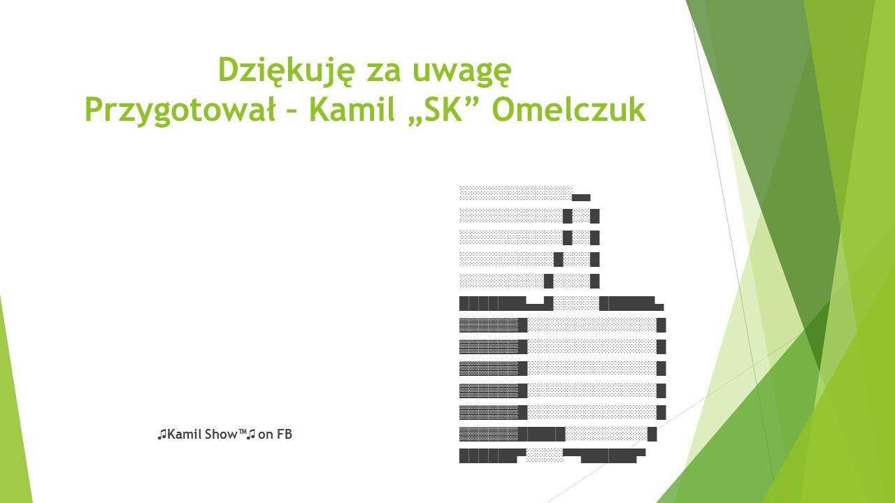 """Dziękuję za uwagę Przygotował – Kamil """"SK"""" Omelczuk ░░░░░░░░░░░░▄▄ ░░░░░░░░░░░█░░█ ░░░░░░░░░░█░░░█ ░░░░░░░░░█░░░░█ ███████▄▄█░░░░░██████▄ ▓▓▓▓▓▓█░░░░░"""