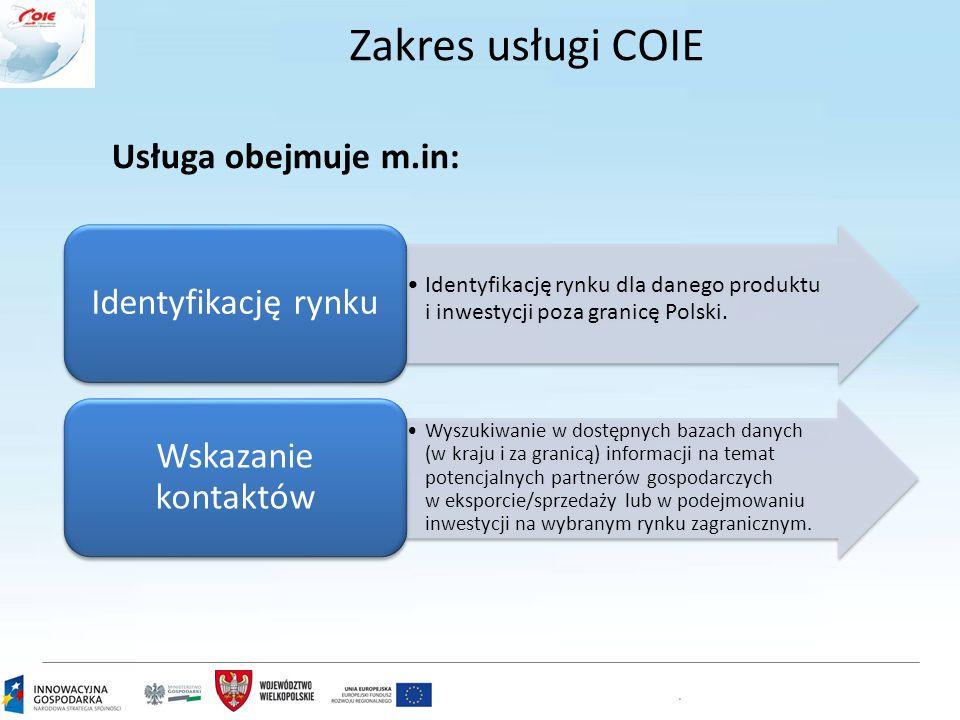 Zakres usługi COIE Usługa obejmuje m.in: Identyfikację rynku dla danego produktu i inwestycji poza granicę Polski. Identyfikację rynku Wyszukiwanie w