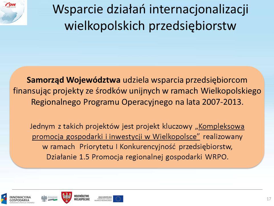Wsparcie działań internacjonalizacji wielkopolskich przedsiębiorstw 17 Samorząd Województwa udziela wsparcia przedsiębiorcom finansując projekty ze śr