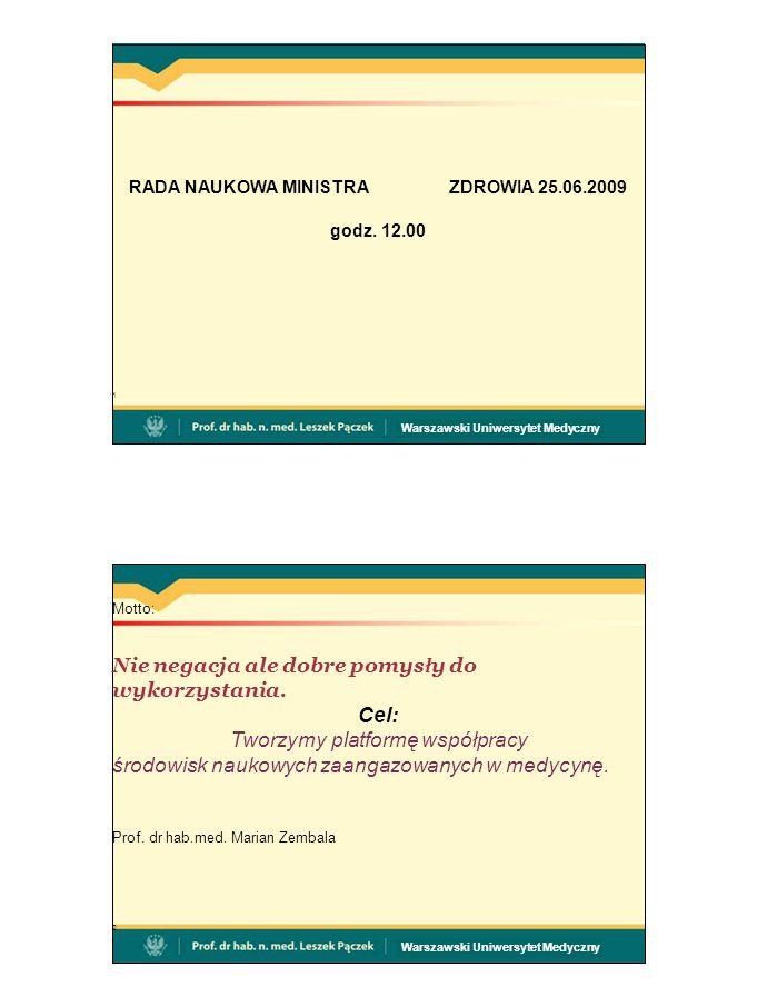 Warszawski Uniwersytet Medyczny RADA NAUKOWA MINISTRAZDROWIA 25.06.2009 godz.