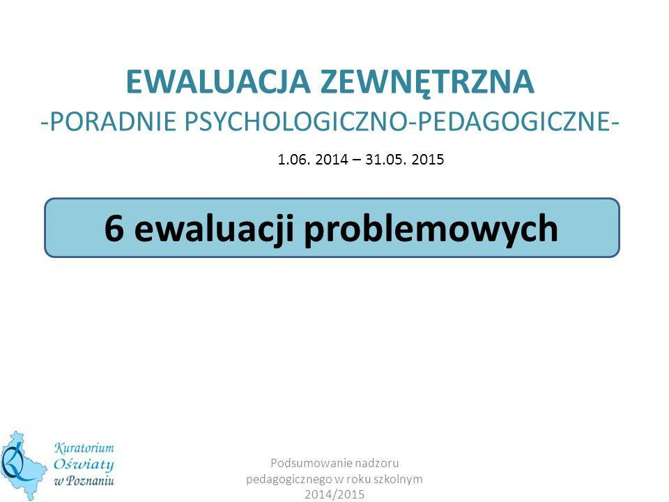 EWALUACJA ZEWNĘTRZNA -PORADNIE PSYCHOLOGICZNO-PEDAGOGICZNE- Podsumowanie nadzoru pedagogicznego w roku szkolnym 2014/2015 6 ewaluacji problemowych 1.06.