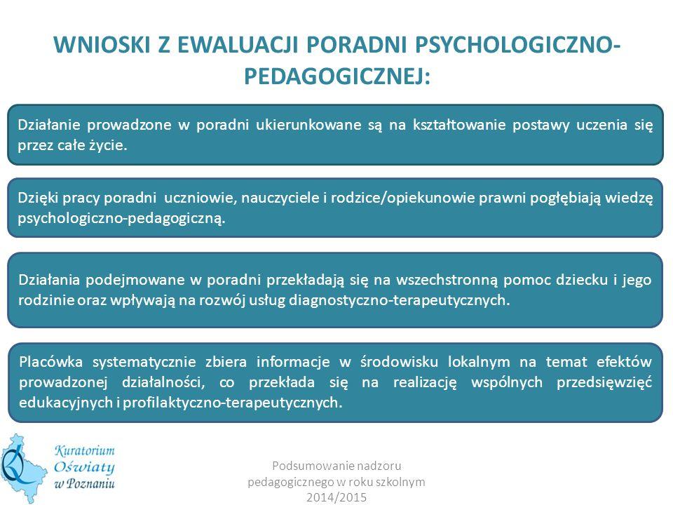 Podsumowanie nadzoru pedagogicznego w roku szkolnym 2014/2015 WNIOSKI Z EWALUACJI PORADNI PSYCHOLOGICZNO- PEDAGOGICZNEJ: Działanie prowadzone w poradni ukierunkowane są na kształtowanie postawy uczenia się przez całe życie.