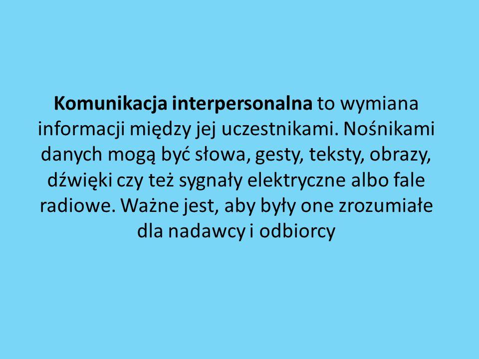Komunikacja interpersonalna to wymiana informacji między jej uczestnikami. Nośnikami danych mogą być słowa, gesty, teksty, obrazy, dźwięki czy też syg