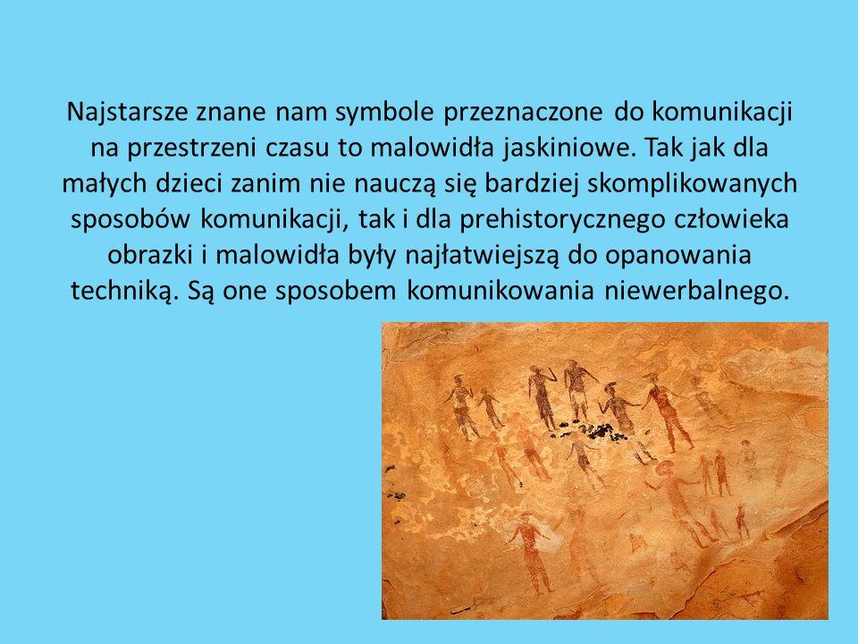 Najstarsze znane nam symbole przeznaczone do komunikacji na przestrzeni czasu to malowidła jaskiniowe. Tak jak dla małych dzieci zanim nie nauczą się