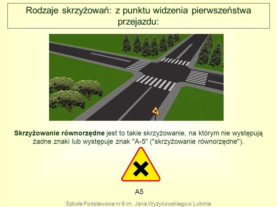 Rodzaje skrzyżowań: z punktu widzenia pierwszeństwa przejazdu: A5 Skrzyżowanie równorzędne jest to takie skrzyżowanie, na którym nie występują żadne z