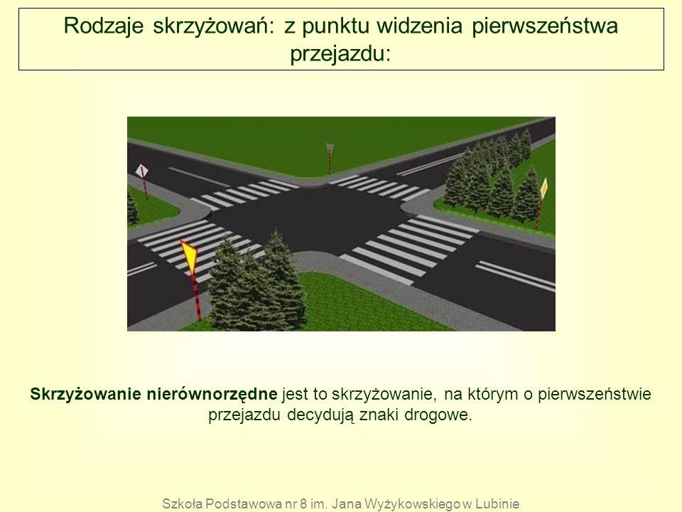 Rodzaje skrzyżowań: z punktu widzenia pierwszeństwa przejazdu: Skrzyżowanie nierównorzędne jest to skrzyżowanie, na którym o pierwszeństwie przejazdu
