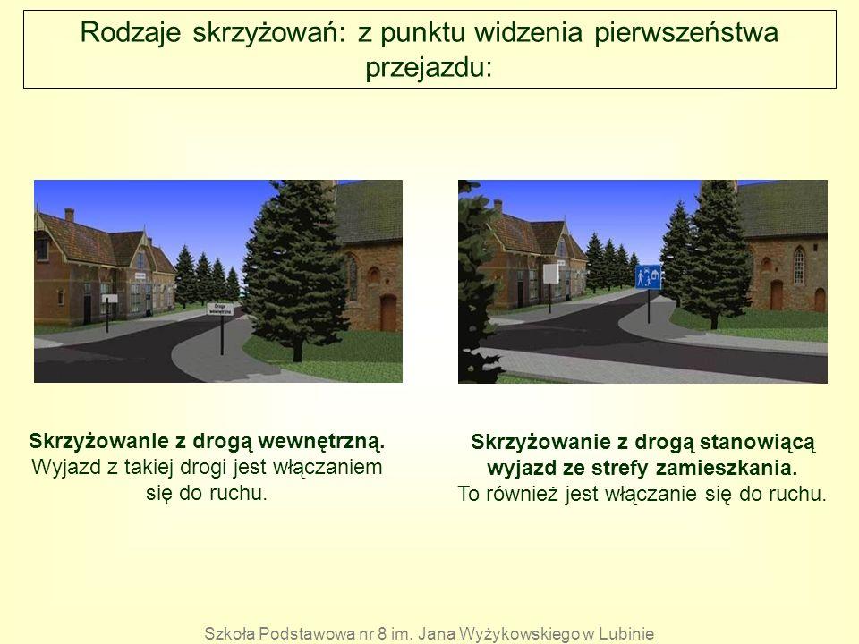 Rodzaje skrzyżowań: z punktu widzenia pierwszeństwa przejazdu: Skrzyżowanie z drogą wewnętrzną. Wyjazd z takiej drogi jest włączaniem się do ruchu. Sk