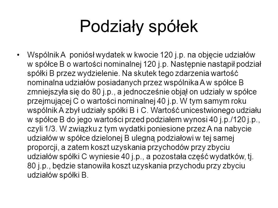 Podziały spółek Wspólnik A poniósł wydatek w kwocie 120 j.p.