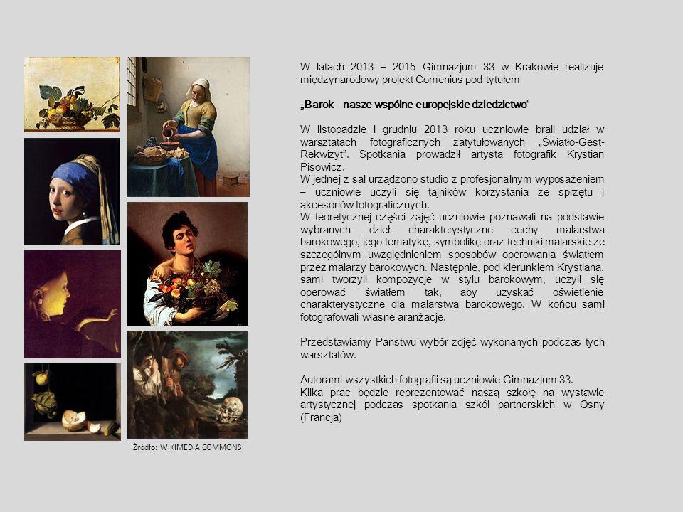 """W latach 2013 – 2015 Gimnazjum 33 w Krakowie realizuje międzynarodowy projekt Comenius pod tytułem """"Barok – nasze wspólne europejskie dziedzictwo W listopadzie i grudniu 2013 roku uczniowie brali udział w warsztatach fotograficznych zatytułowanych """"Światło-Gest- Rekwizyt ."""