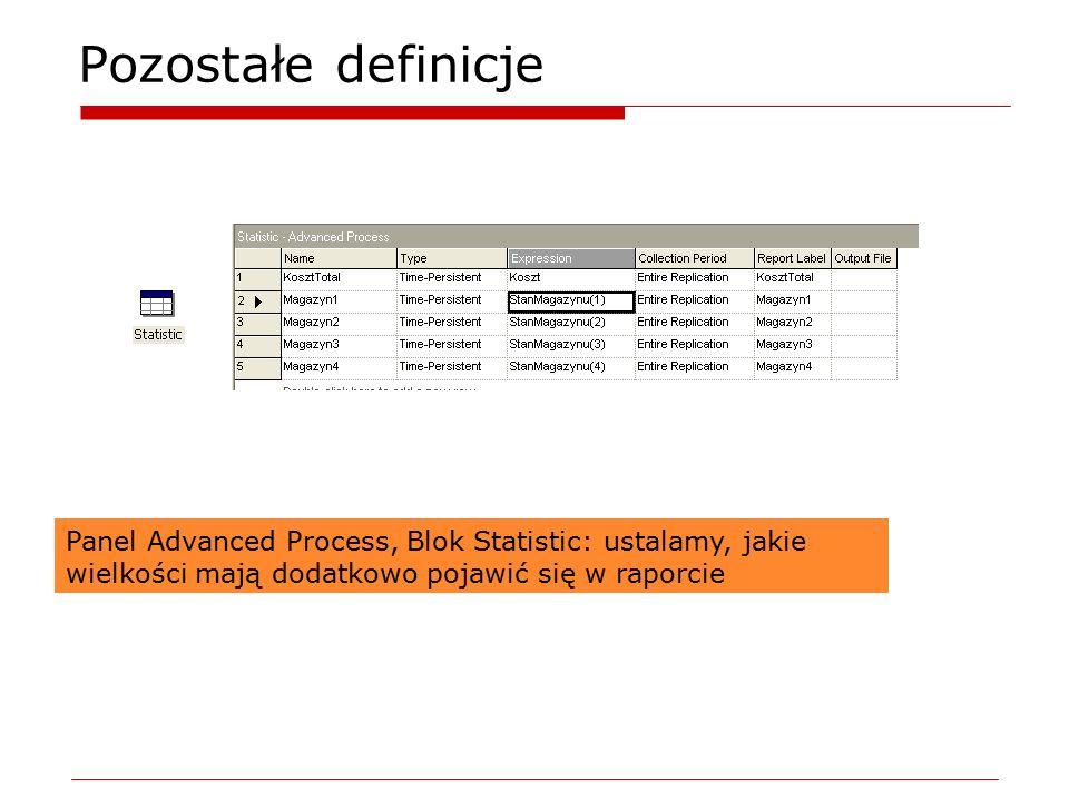 Pozostałe definicje Panel Advanced Process, Blok Statistic: ustalamy, jakie wielkości mają dodatkowo pojawić się w raporcie