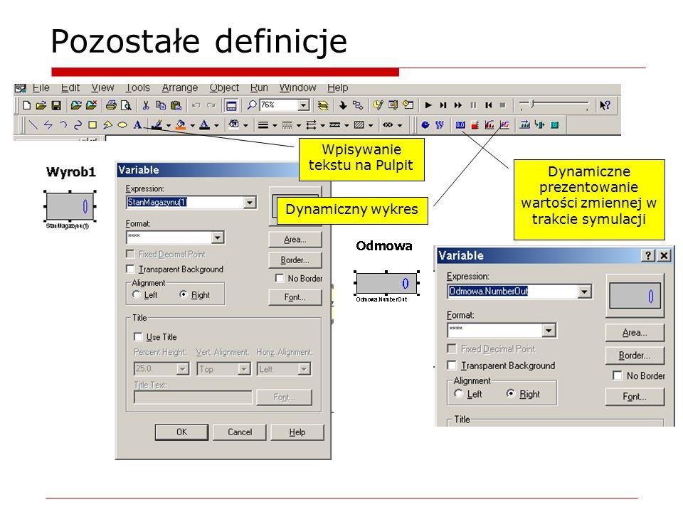 Pozostałe definicje Dynamiczne prezentowanie wartości zmiennej w trakcie symulacji Wpisywanie tekstu na Pulpit Dynamiczny wykres