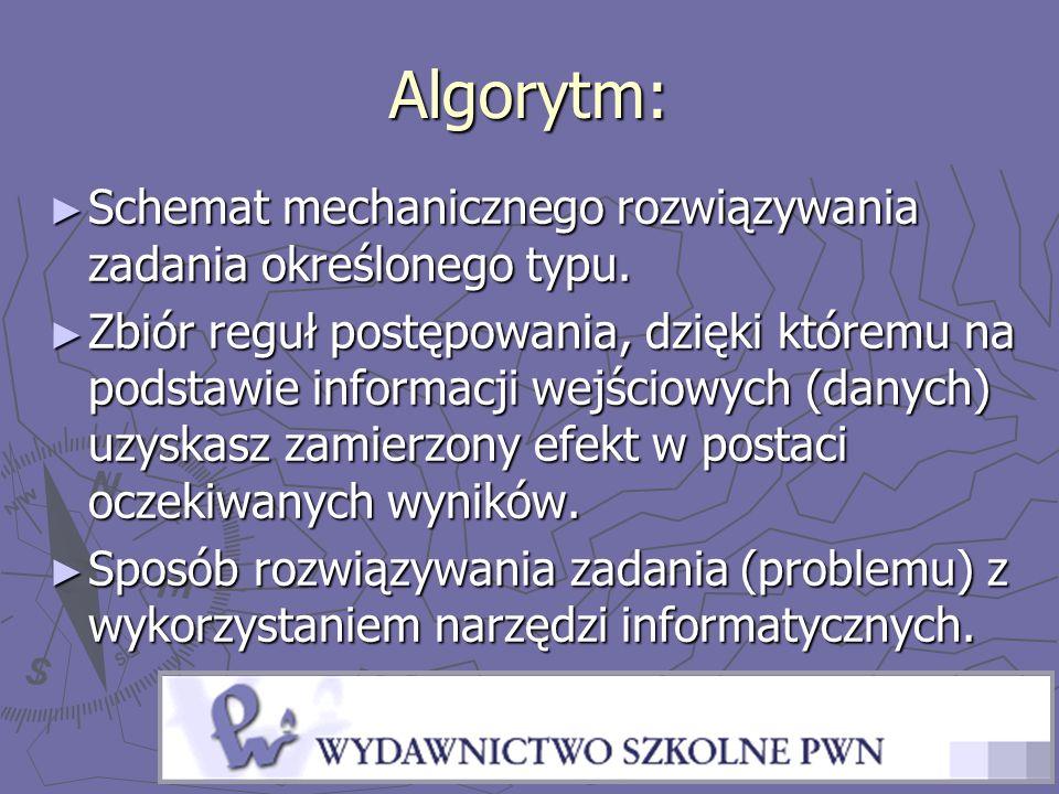 Algorytm: ► Schemat mechanicznego rozwiązywania zadania określonego typu. ► Zbiór reguł postępowania, dzięki któremu na podstawie informacji wejściowy