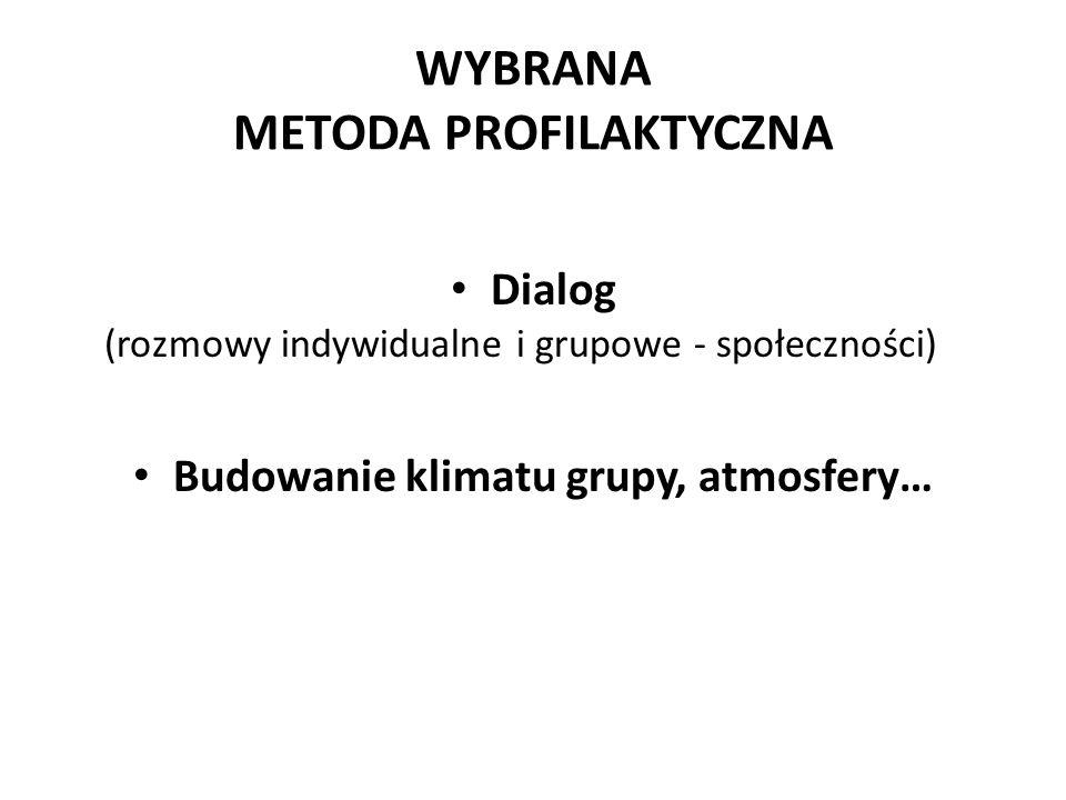 WYBRANA METODA PROFILAKTYCZNA Dialog (rozmowy indywidualne i grupowe - społeczności) Budowanie klimatu grupy, atmosfery…