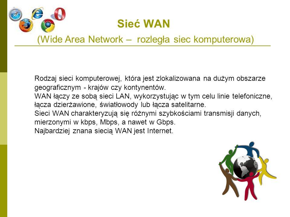 Sieć WAN (Wide Area Network – rozległa siec komputerowa) Rodzaj sieci komputerowej, która jest zlokalizowana na dużym obszarze geograficznym - krajów
