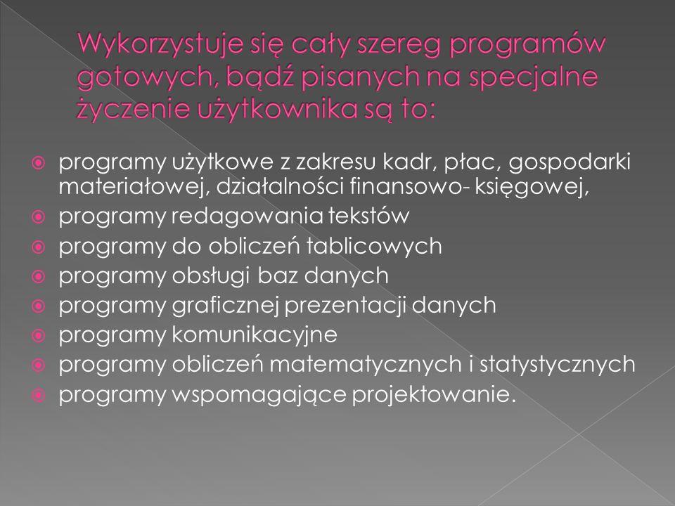  programy użytkowe z zakresu kadr, płac, gospodarki materiałowej, działalności finansowo- księgowej,  programy redagowania tekstów  programy do obl