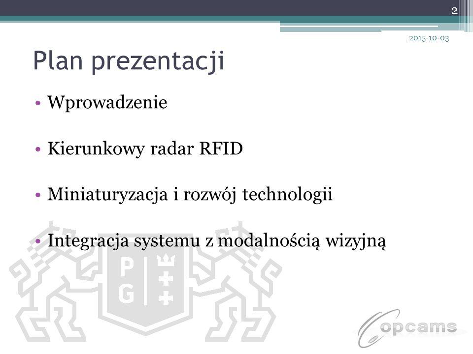 Plan prezentacji Wprowadzenie Kierunkowy radar RFID Miniaturyzacja i rozwój technologii Integracja systemu z modalnością wizyjną 2 2015-10-03