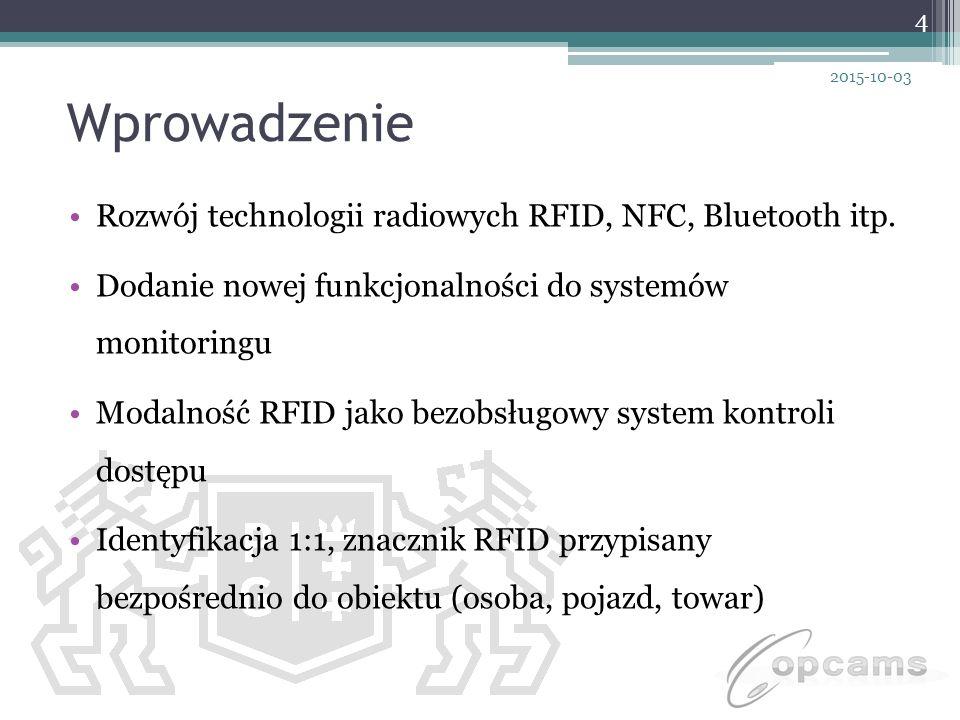 Wprowadzenie Rozwój technologii radiowych RFID, NFC, Bluetooth itp. Dodanie nowej funkcjonalności do systemów monitoringu Modalność RFID jako bezobsłu
