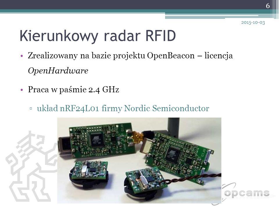 Kierunkowy radar RFID Zrealizowany na bazie projektu OpenBeacon – licencja OpenHardware Praca w paśmie 2.4 GHz ▫układ nRF24L01 firmy Nordic Semiconduc