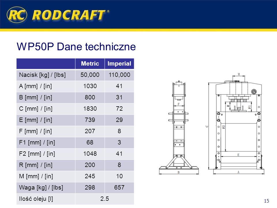 WP50P Dane techniczne MetricImperial Nacisk [kg] / [lbs]50,000110,000 A [mm] / [in]103041 B [mm] / [in]80031 C [mm] / [in]183072 E [mm] / [in]73929 F