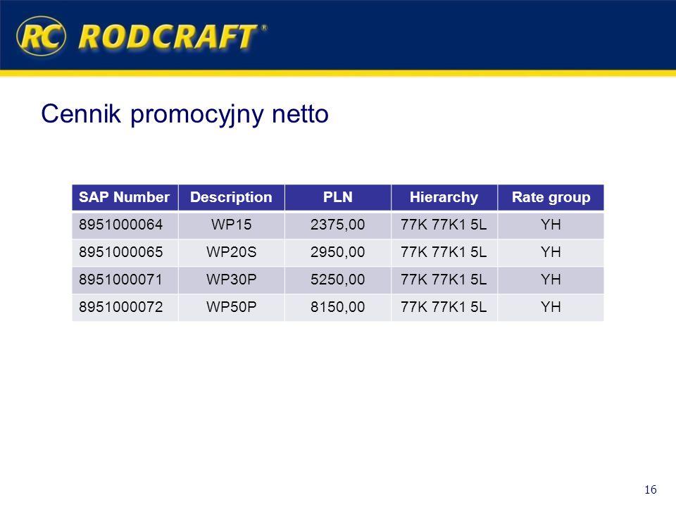 Cennik promocyjny netto 16 SAP NumberDescriptionPLNHierarchyRate group 8951000064WP152375,0077K 77K1 5LYH 8951000065WP20S2950,0077K 77K1 5LYH 89510000