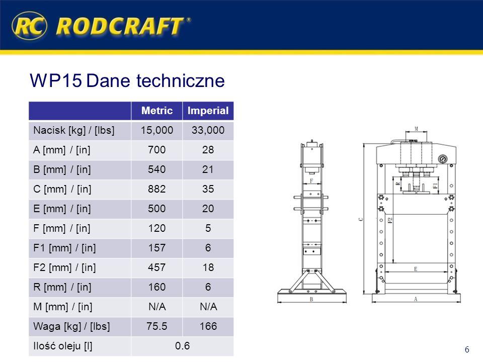 WP15 Dane techniczne MetricImperial Nacisk [kg] / [lbs]15,00033,000 A [mm] / [in]70028 B [mm] / [in]54021 C [mm] / [in]88235 E [mm] / [in]50020 F [mm]