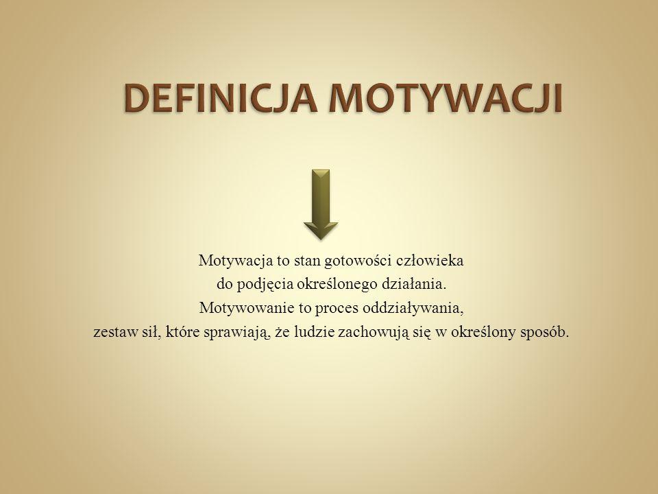 DEFINICJA MOTYWACJI Motywacja to stan gotowości człowieka do podjęcia określonego działania.
