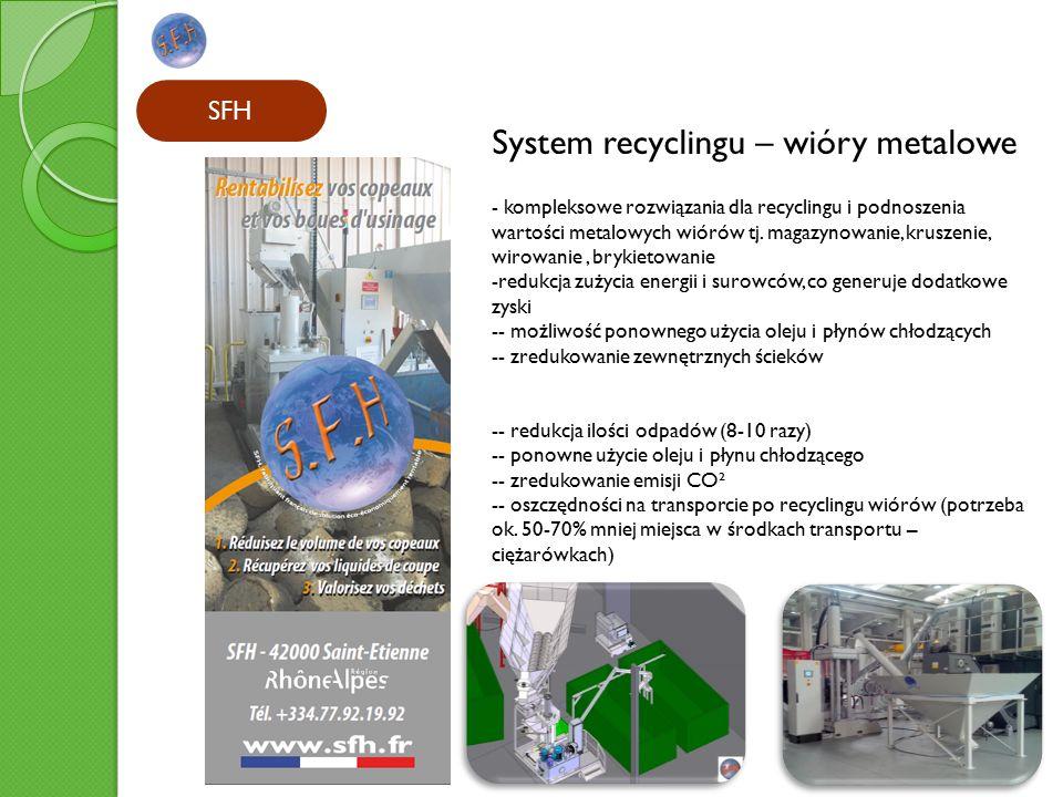 SFH System recyclingu – wióry metalowe - kompleksowe rozwiązania dla recyclingu i podnoszenia wartości metalowych wiórów tj.