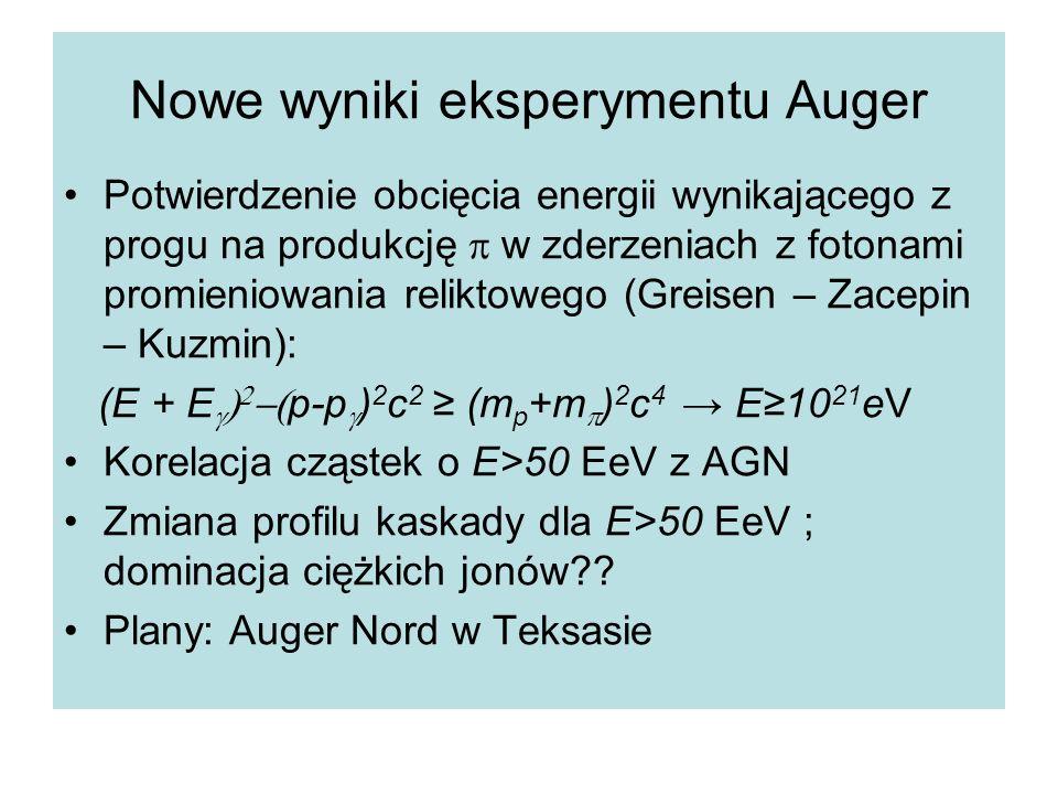 Nowe wyniki eksperymentu Auger Potwierdzenie obcięcia energii wynikającego z progu na produkcję  w zderzeniach z fotonami promieniowania reliktowego (Greisen – Zacepin – Kuzmin): (E + E     p-p  ) 2 c 2 ≥ (m p +m  ) 2 c 4 → E≥10 21 eV Korelacja cząstek o E>50 EeV z AGN Zmiana profilu kaskady dla E>50 EeV ; dominacja ciężkich jonów .