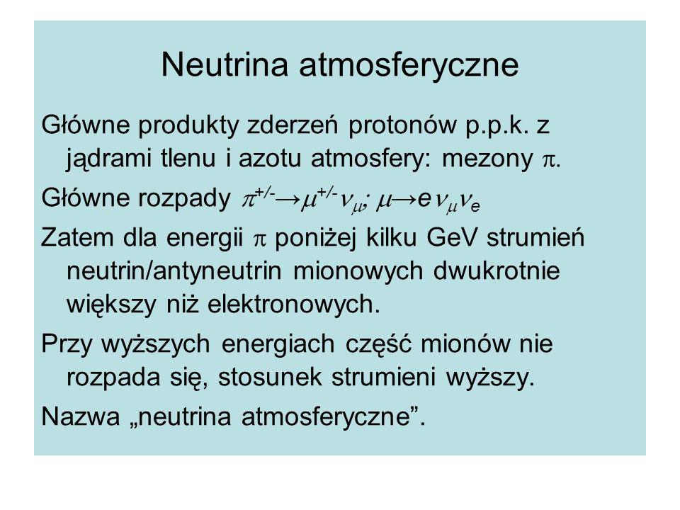 Neutrina atmosferyczne Główne produkty zderzeń protonów p.p.k. z jądrami tlenu i azotu atmosfery: mezony  Główne rozpady  +/- →  +/-   →e  e
