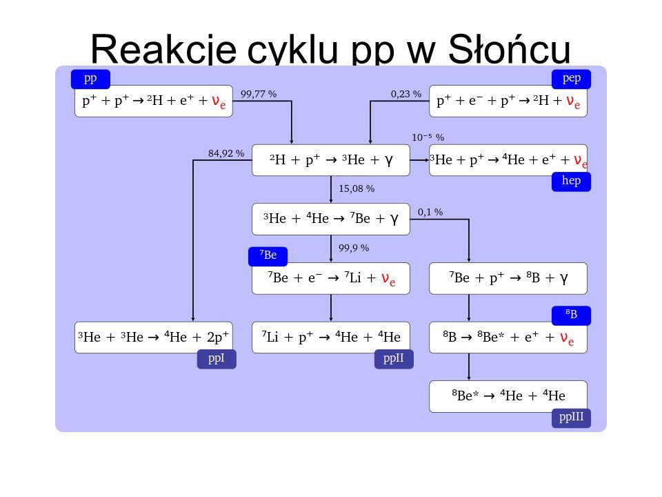 Reakcje cyklu pp w Słońcu
