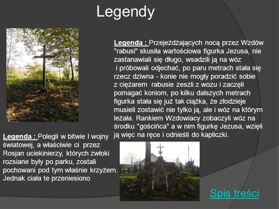 Legenda : Polegli w bitwie I wojny światowej, a właściwie ci przez Rosjan uciekinierzy, których zwłoki rozsiane były po parku, zostali pochowani pod t