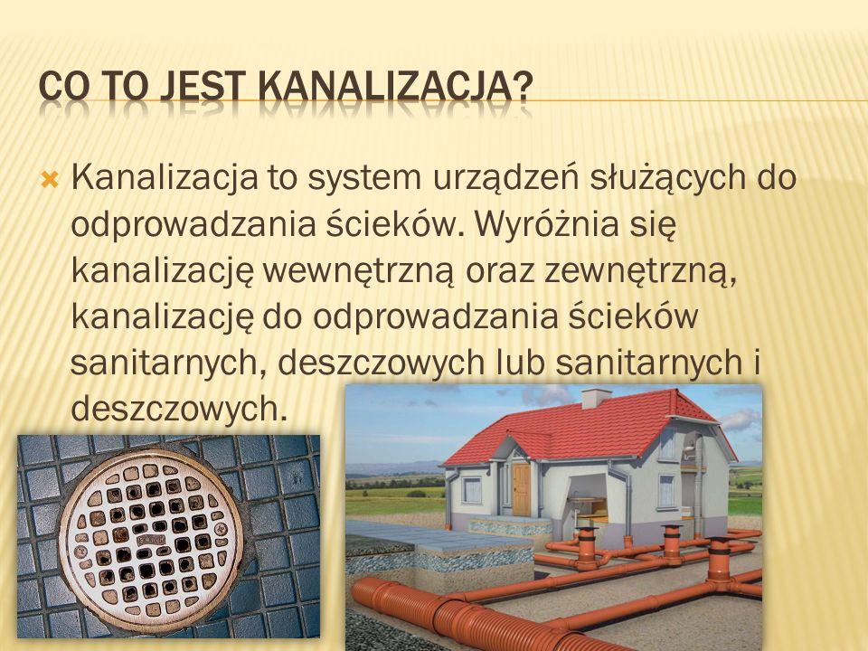  Kanalizacja to system urządzeń służących do odprowadzania ścieków. Wyróżnia się kanalizację wewnętrzną oraz zewnętrzną, kanalizację do odprowadzania