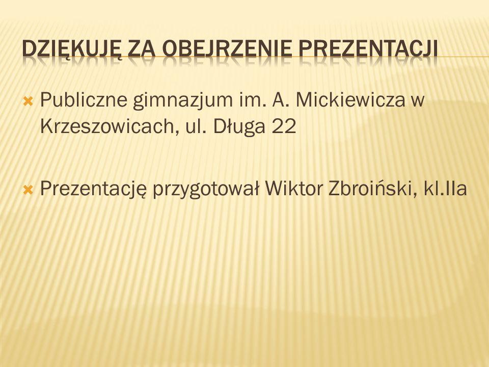  Publiczne gimnazjum im. A. Mickiewicza w Krzeszowicach, ul. Długa 22  Prezentację przygotował Wiktor Zbroiński, kl.IIa